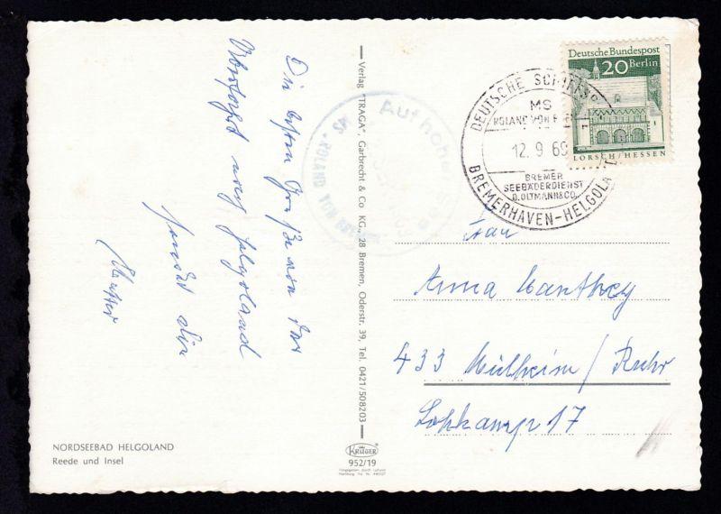 DEUTSCHE SCHIFFSPOST MS ROLAND VON BREMEN BREMER SEEBÄDERDIENST D. OLTMANN & CO