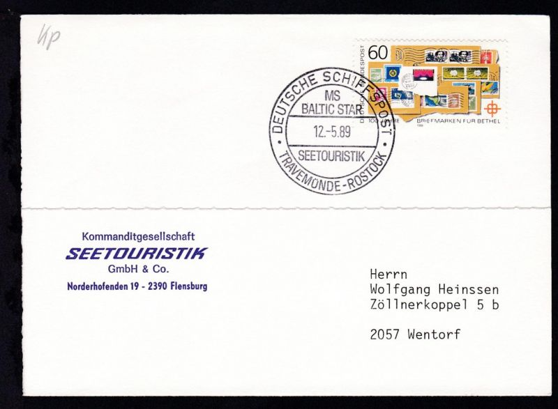 DEUTSCHE SCHIFFSPOST MS BALTIC STAR SEETOURISTIK TRAVEMÜNDE-ROSTOCK 12.5.89