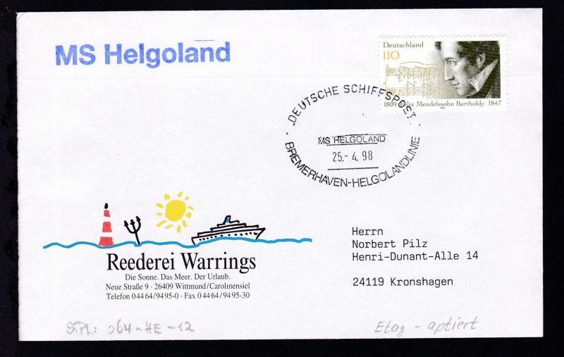 DEUTSCHE SCHIFFSPOST MS HELGOLAND BREMERHAVEN-HELGOLANDLINIE 25.4.98 + L1