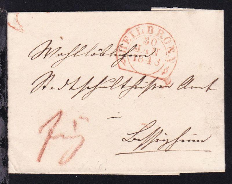 Heilbronn Steigbügelstempel HEILBRONN 30 JAN 1843 auf Briefhülle