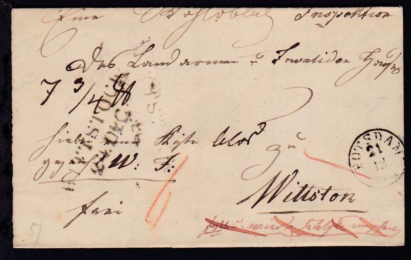 Potsdam 1845 K1 POTSDAM 21.12. auf Brief nach Wittstock