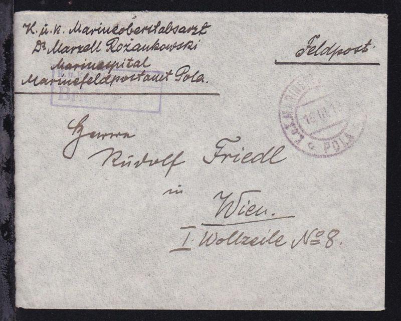 K.u.K. MARINEFELDPOSTAMT POLA 18.III.18 + R2 Marinespital Briefstempel auf