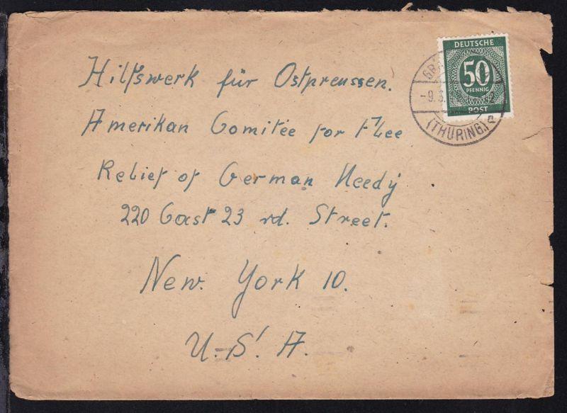 Ziffer 50 Pfg. auf Brief ab Gräfenroda (Thüring.) 9.3.48 an das Hilfswerk für