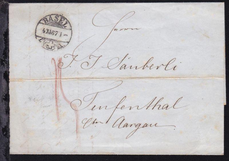 Brief ab Basel 4.XI.67 nach Teufenthal bei Aargau