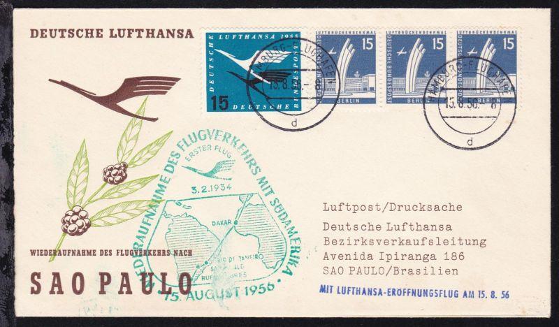 Lufthansa Erstflugbrief Hamburg-Sao Paulo 15.8.1956