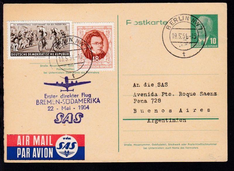 SAS-Erstflugkarte Bremen-Buenos Aires 22.5.1954, Zuleitungspost aus der DDR