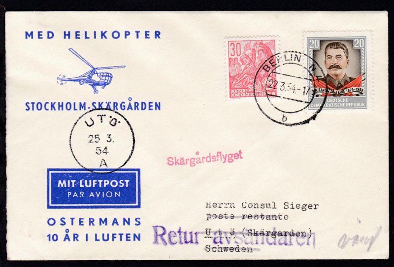 1955 Helikopter-Flug Stockholm-Skärgarden, Zuleitungspost aus der DDR