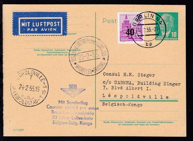 Sonderflug Brüssel-Leopoldville 30 Jahre Luftverkehr Belgien-Belg. Kongo 23.2.55