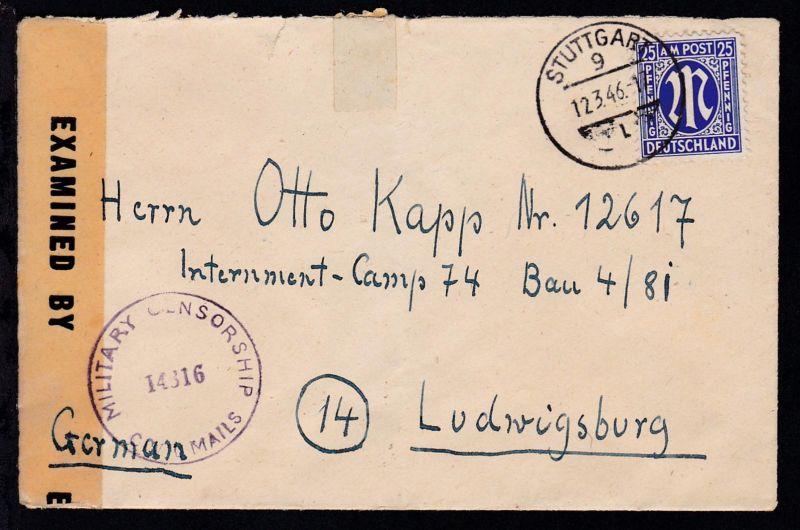AM POST 25 Pfg. auf Kriegsgefangenenbrief ab Stuttgart an Internment-Camp 74