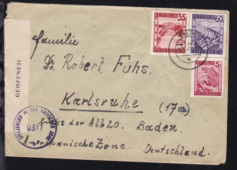 Landschaften 5 g., 35 g. und 60 g. auf Brief ab Graz 04.10.47