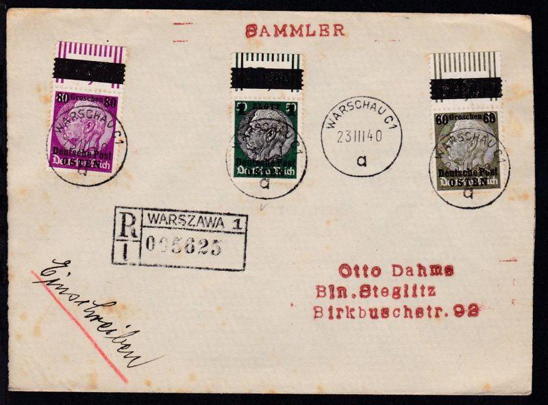 Hindenburg mit Aufdruck 60 Gr., 80 Gr. und 1 Zt. (alles Oberrandstücke)