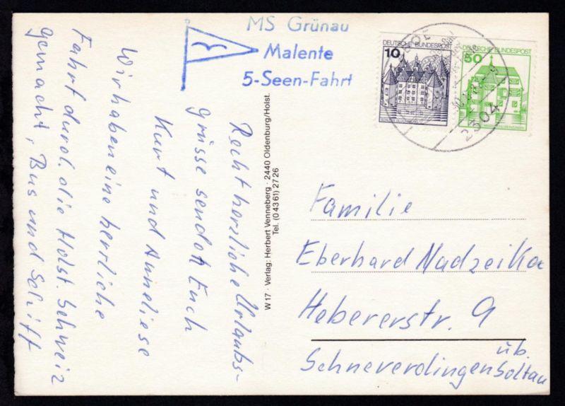 L3 MS Grünau Malente 5-Seen-Fahrt auf CAK (Landkarte) ab Laboe 30.8.82