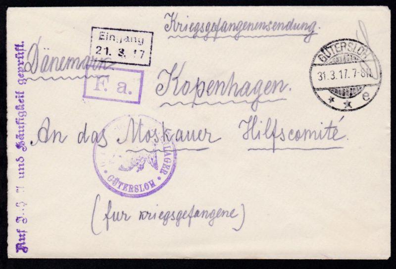 OSt. Gütersloh 31.3.17 + Adler-Stempel OFFIZIERS-GEFANGENNENLAGER GÜTERSLOH  +