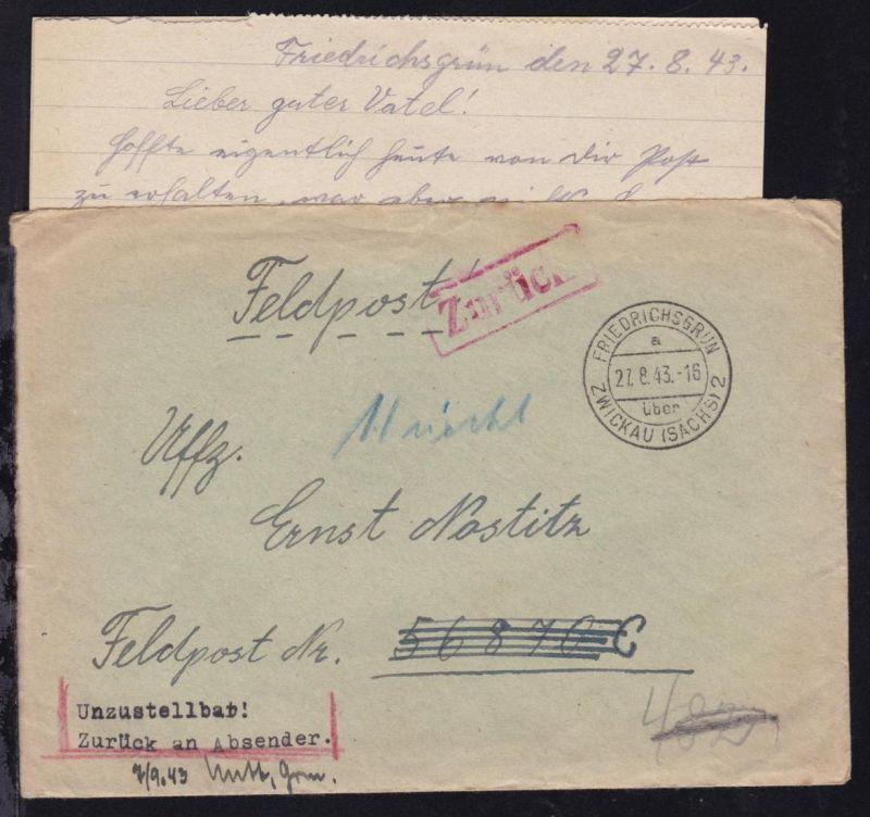 FRIEDRICHSGRÜN über ZWICKAU (SACHS) 2 a 27.8.43 auf Feldpostbrief (mit Inhalt)