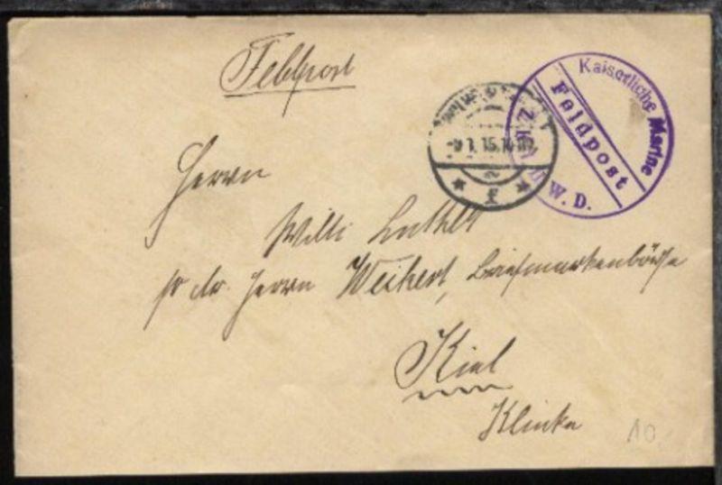OSt. Wilhelmshaven 9.1.15 + viol. Steg-K1 Feldpost Z.K. 1 II. W.D. auf FP-Bf.