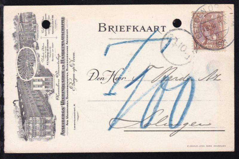 Königin Wilhelmine 7½ C. auf illustrierter Firmenpostkarte