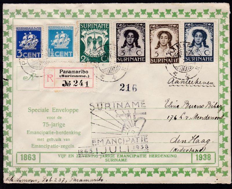 75. Jahrestag der Aufhebung der Sklaverei in Surinam + Zusatzfrankatur