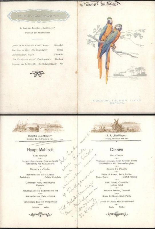 Dampfer Derfflinger Speisekarte Hauptmahlzeit mit Musikprogramm vom 30.12.1924