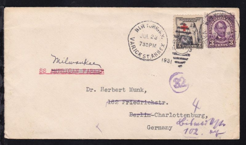 2 Werte auf Brief ab New York JUL 23 1931 mit Leitvermerk SS Milwaukee