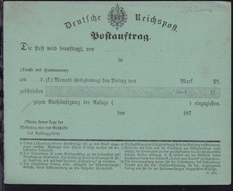 Postauftrag Formular C. 114. der Deutschen Reichspost , *