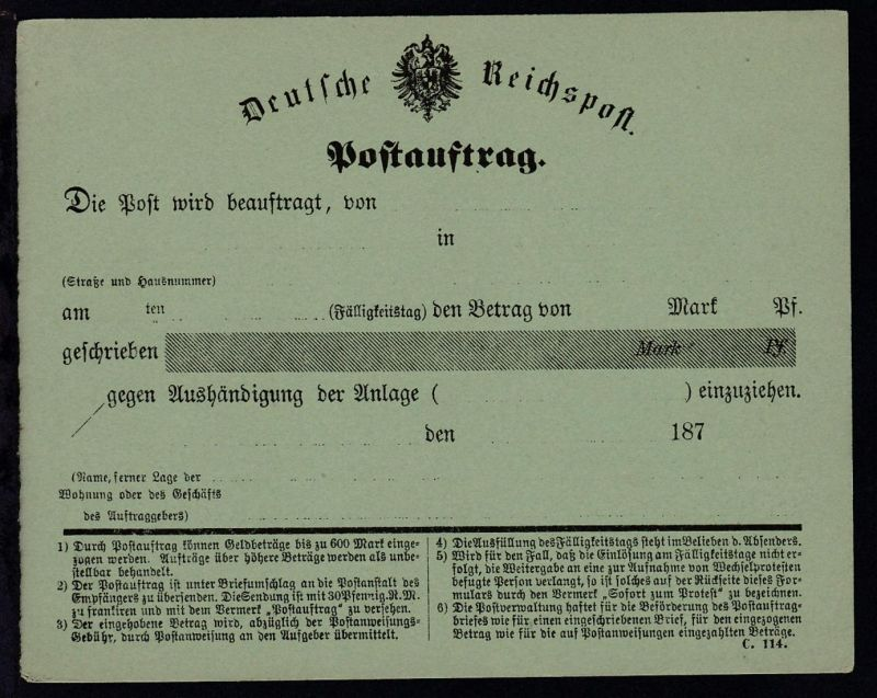 Deutsche Reichspost Postauftrag Formular C. 114., *