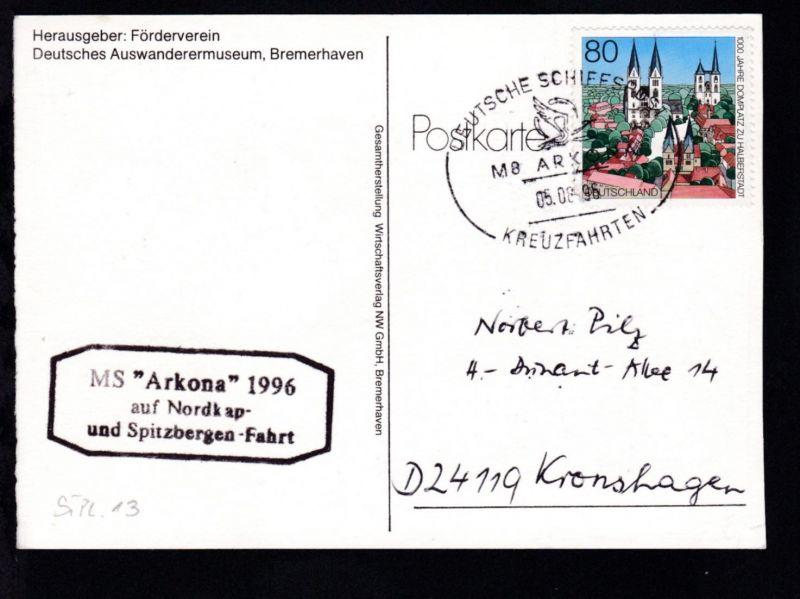 DEUTSCHE SCHIFFSPOST MS ARKONA KREUZFAHRTEN 05.08.96 + Cachet