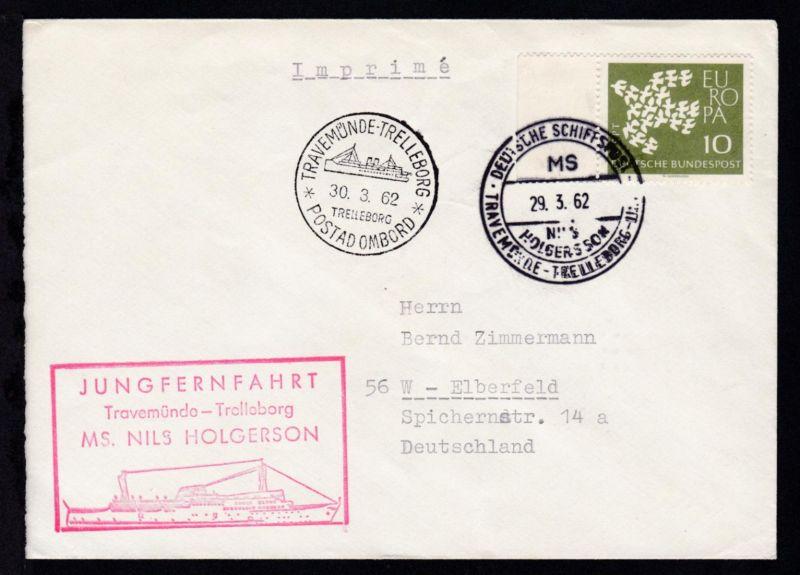 DEUTSCHE SCHIFFSPOST MS NILS HOLGERSSON TRAVEMÜNDE-TRELLEBORG-LINIE 29.3.62 +