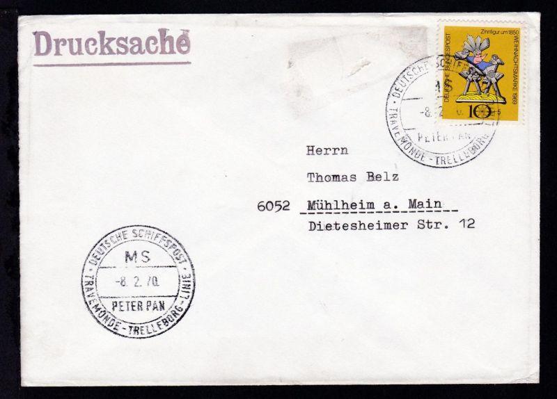 DEUTSCHE SCHIFFSPOST  MS PETER PAN TRAVEMÜNDE-TRELLEBORG-LINIE 8.2.70 auf Brief