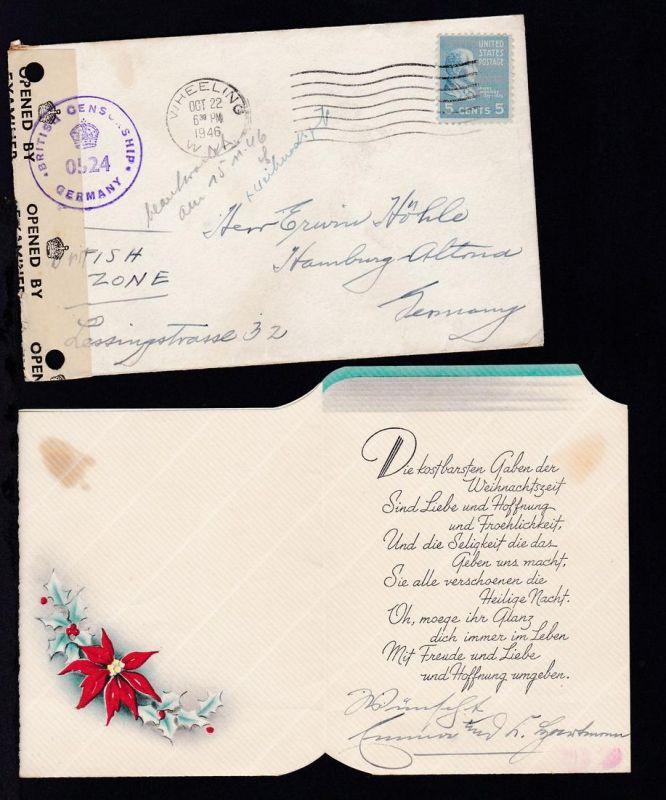 Präsidenten 5 C. auf Brief mit Inhalt (Weihnachtsgrüsse) ab Wheeling W VA