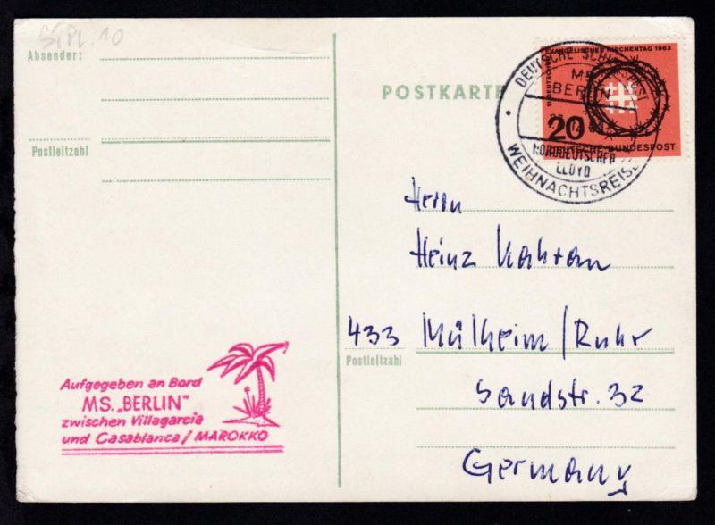 DEUTSCHE SCHIFFSPOST MS BERLIN NORDDEUTSCHER LLOYD WEIHNACHTSTREISE 27.12.64