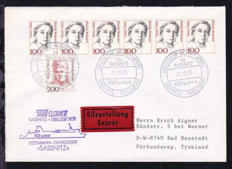 DEUTSCHE SCHIFFSPOST FS SASSNITZ TS-LINE SASSNITZ-TRELLEBORG 24.10.93 + Cachet
