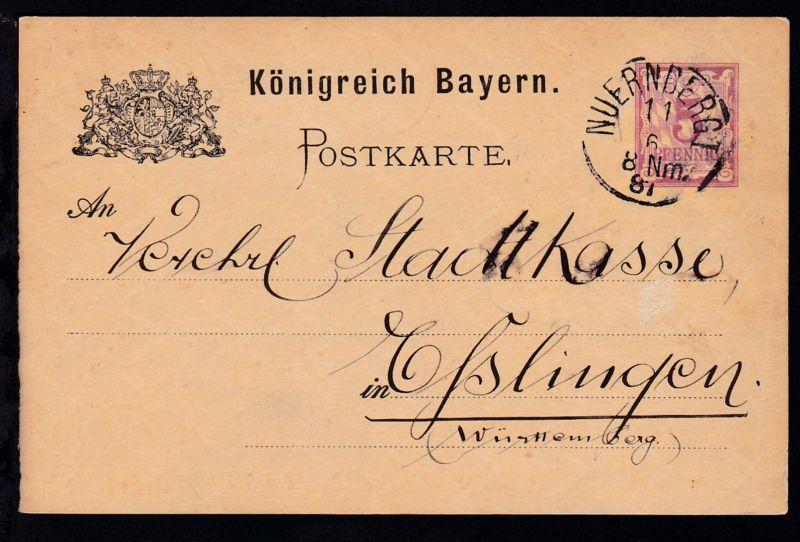 Ziffer 5 Pfg. mit K1 NUERNBERG I 11.6.87 nach Esslingen, Karte min. Randbug