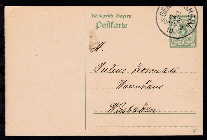 Ziffer 5 Pfg. mit K2 GERMERSHEIM 17 DEZ 10 nach Wiesbaden
