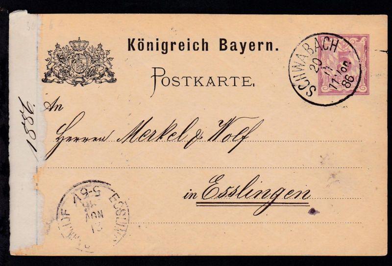 Ziffer 5 Pfg. mit K1 SCHWABACH 20.11.86 nach Esslingen, Karte links Papierrest