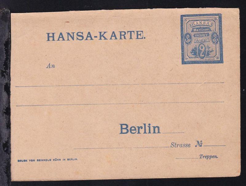 Berlin Verkehrs-Anstalt Hansa Ganzsache 2 Pfge ungebraucht