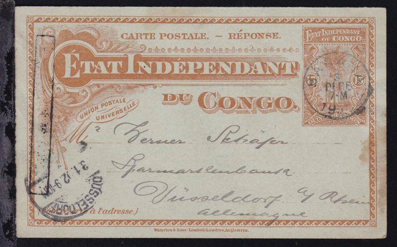 Ganzsache 15 C. als Neujahrskarte ab Banana 3 DECE 1901 nach Düsseldorf