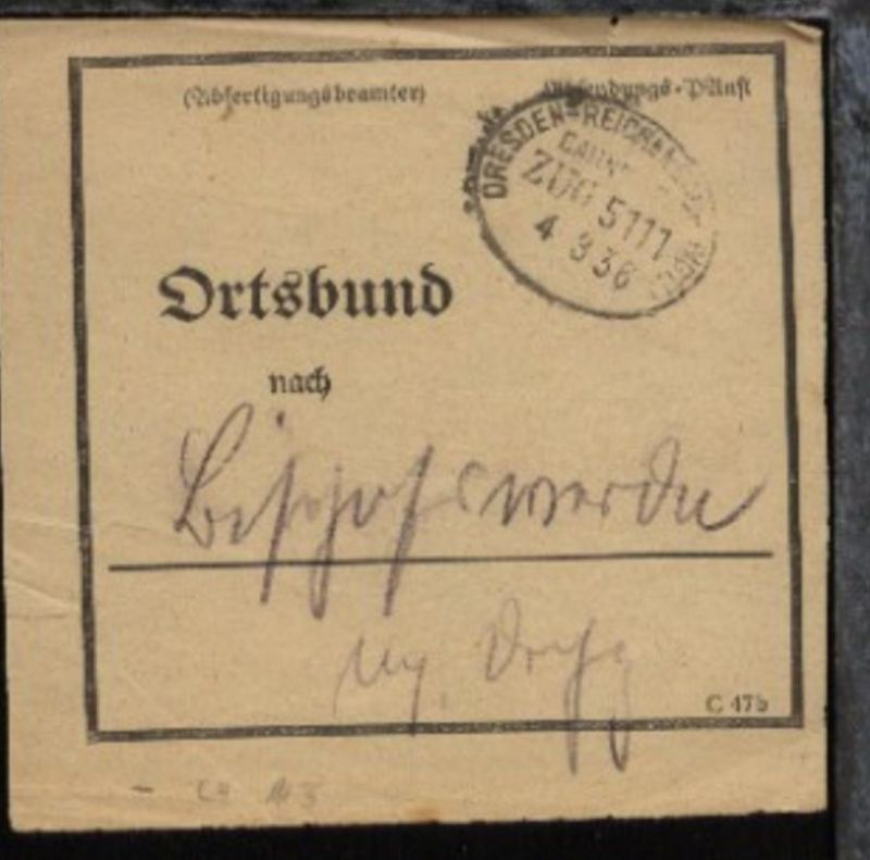 DRESDEN-REICHENBACH (VGTL) ZUG 5111 4.3.36 auf Bf.-Bund-Zettel