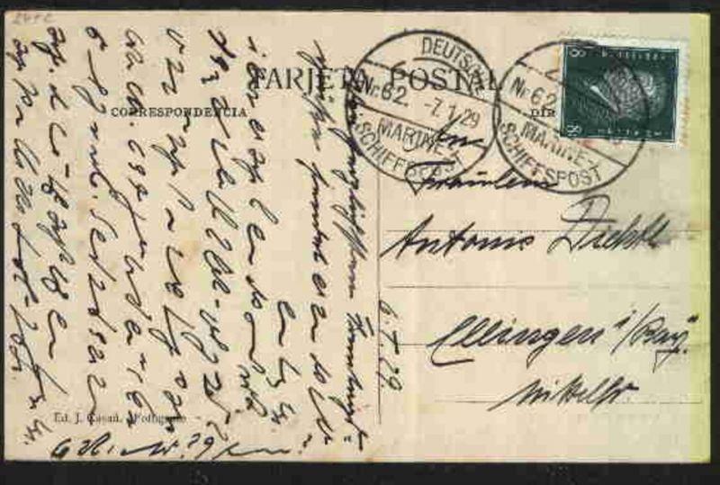 DEUTSCHE MARINE-SCHIFFSPOST Nr. 92 31.7.23 Linienschiff Braunschweig auf AK