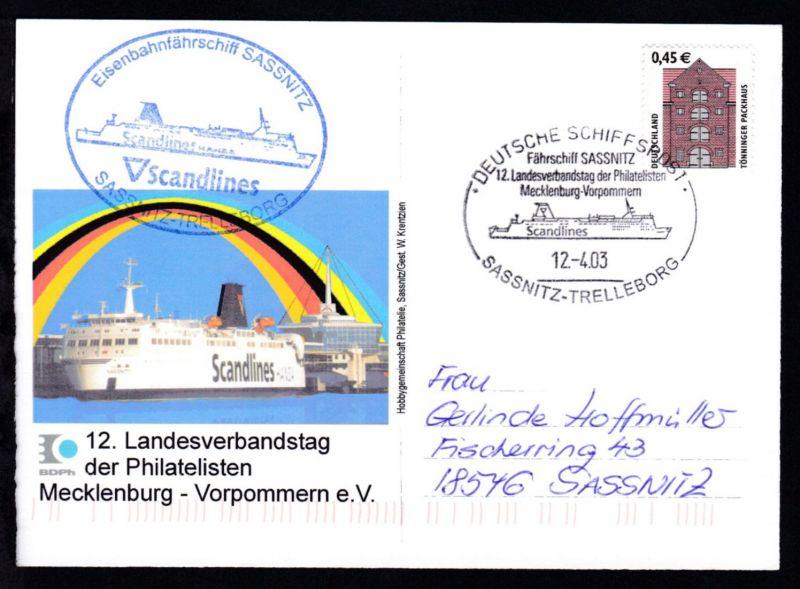 DEUTSCHE SCHIFFSPOST Fährschiff SASSNITZ 12. Landesverbandstag der Philatelisten