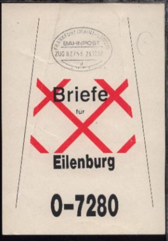 FRANKFURT (MAIN)-LEIPZIG d ZUG 02753 23.10.92 auf Beutelfahne