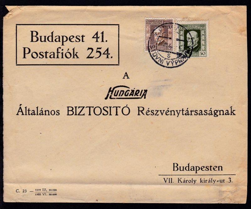 Masaryk 2 Werte auf Firmenantwortbrief ab Prag 7.VII.26 nach Budapest,