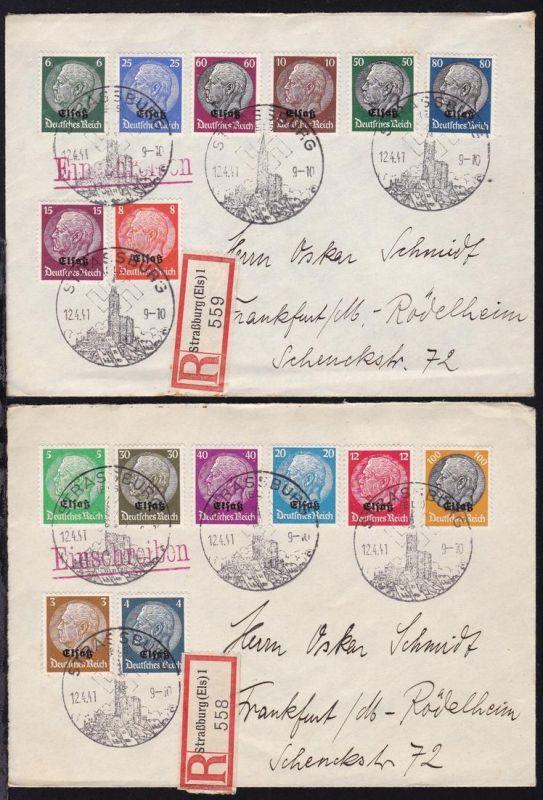 Hindenburg mit Aufdruck Elsaß Satz auf 2 R-briefen ab Strassburg 12.4.41