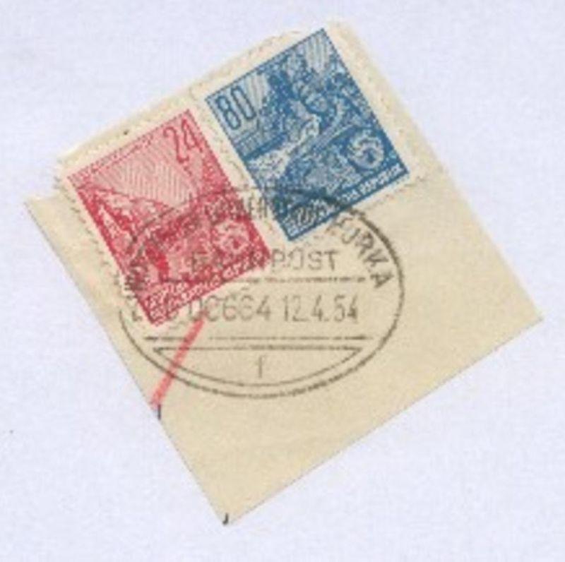 WITTENBERG LUTHERSTADT-HORKA f ZUG 00664 12.4.54 auf Bf.-Stück