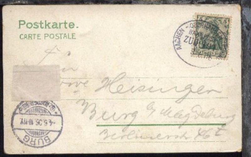 AACHEN-OBERHAUSEN (RHEINL.) ZUG 191 3.6.06 auf AK, Kte überklebte Schürfstelle