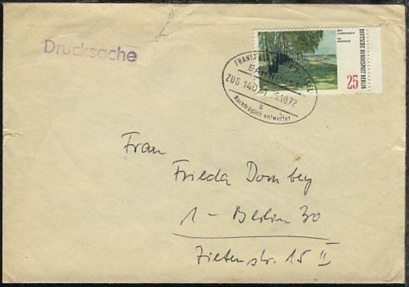 FRANKFURT AM MAIN-BASEL s Nachträglich entwertet ZUG 14071 25.10.72 auf Bf.,