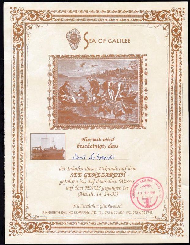 1996 Urkunde für Fahrt auf dem See Genezareth, dazu Prospekt der Genezareth- 0