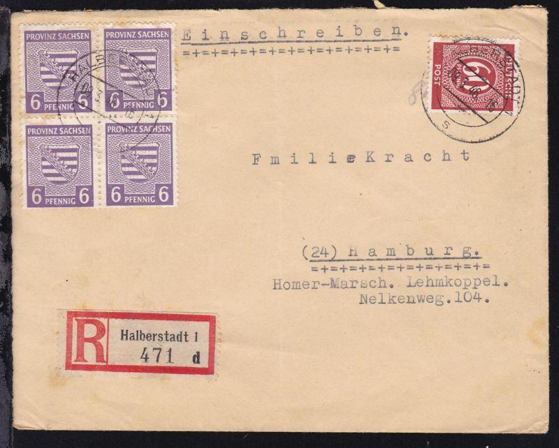 Wappen 6 Pfg. (Viererblock) und Alliierte Besetzung Ziffer 60 Pfg. auf R-Brief 0