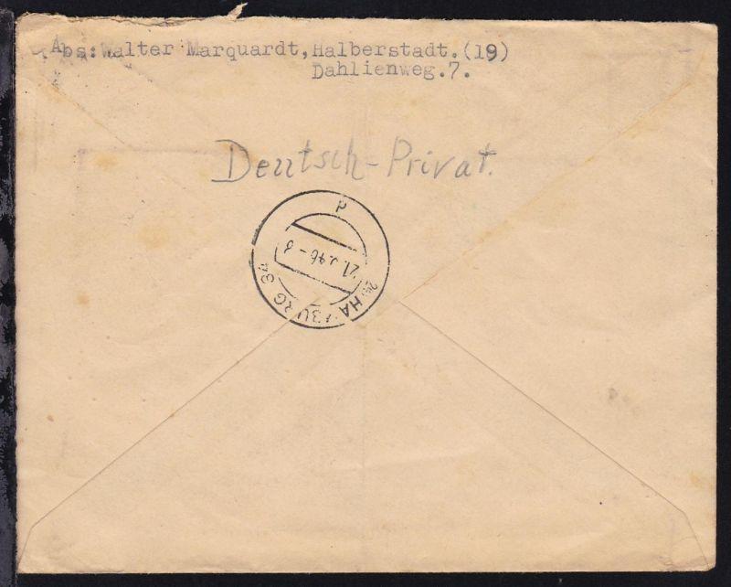 Wappen 6 Pfg. (Viererblock) und Alliierte Besetzung Ziffer 60 Pfg. auf R-Brief 1
