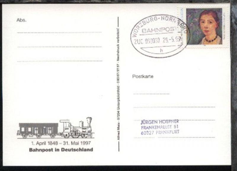 WÜRZBURG-NÜRNBERG h ZUG 039080 29.5.97 auf AK