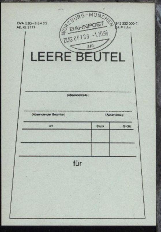 WÜRZBURG-MÜNCHEN am ZUG 00700 1.10.96 auf Beutelfahne